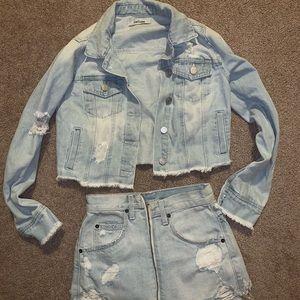 Denim crop jean jacket carmar xs / s